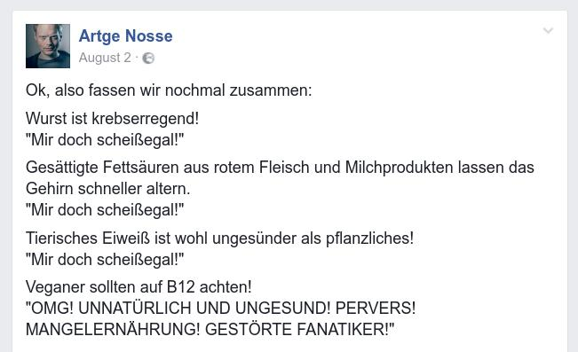 Screenshot Artgenosse auf Facebook