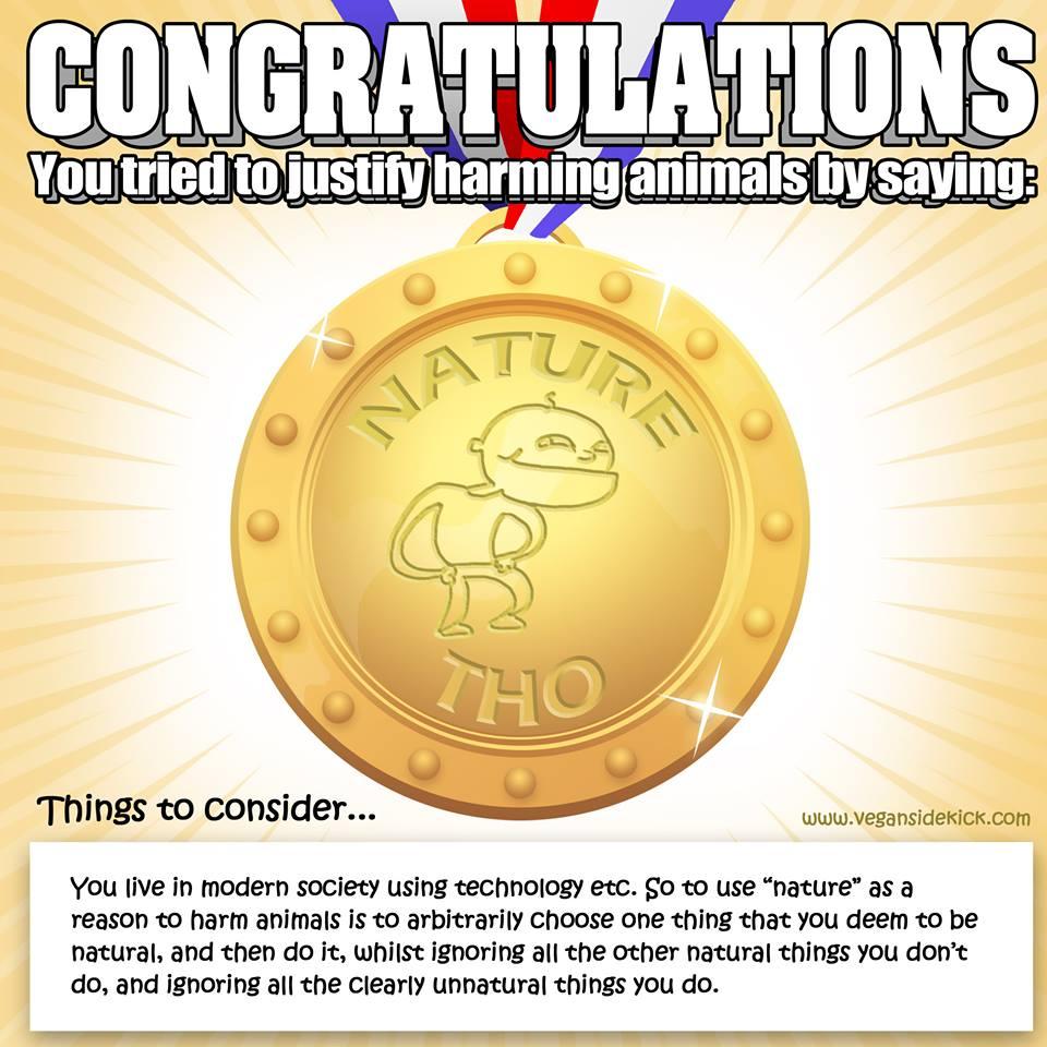 Die Vegan Sidekick Fehlschluss-Medaille: Natürlichkeit