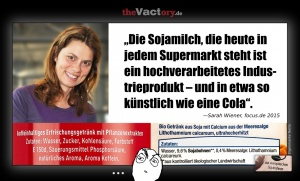 Sarah Wiener auf focus.de: Sojamilch ist so künstlich wie Cola. Wirklich?