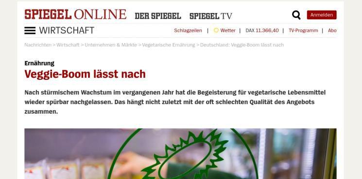 """[Newsflash] SPON: """"Veggie-Boom lässt nach"""""""
