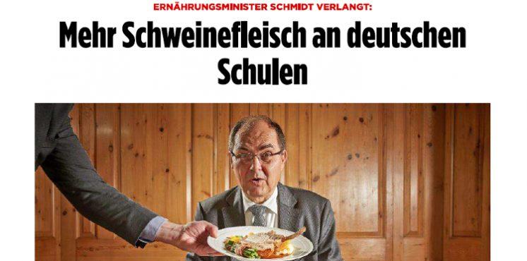 "[Newsflash] BILD: Bundesernährungsminister Christian Schmidt (CSU) fordert ""Mehr Schweinefleisch an deutschen Schulen"""